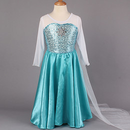 Wholesale 40pcs New Arrival Frozen Princess Dresses Blue Elsa Dresses With White Lace Wape Girls New Fashion Frozen Dresses Cheap Ready Stock