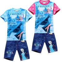 Wholesale New summer girls t shirts jeans casual suit Cartoon Frozen Princess baby kids clothes fashion girls clothing sets