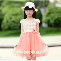 Wholesale Korean Children Clothing Dandy Dressy Girls White Flower Lace Pure Coloured Cotton Gauze Princess Dress Kids Dressing J0282