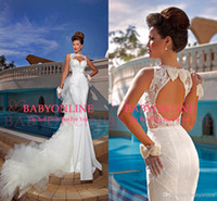 Wholesale Newest summer beach bridal gowns white tulle sexy bateau applique lace pearls keyhole back chapel train mermaid wedding dresses BY865