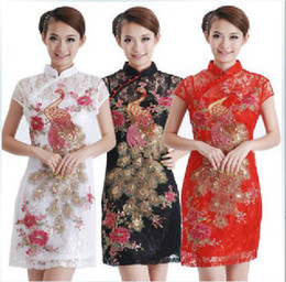 Wholesale Vintage Short Wedding Dress Colors Cheongsam Satin Lace Slim Sheath Chinese Cheongsam knee Length Party Pageant Dress EM02021