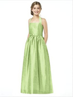 Cheap 2014 Wholesale Lime Green A-Line Beach Party Evening dresses Halter Sleeveless Knee-length Summer Wedding Junior Bridesmaid Dresses 2015