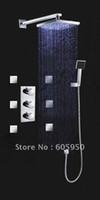 Wholesale New Arrival Three Handles Wall Mounted Chrome LED Thermostatic Shower Set I