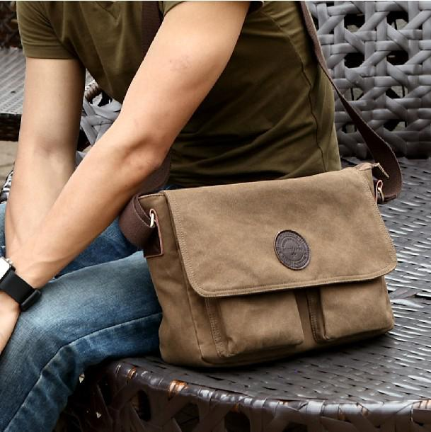 New Fashion Men Canvas Bag Casual Vintage Messenger Bag