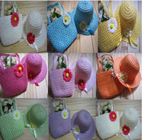 autumn wholesale tote bags - Lovely Sunflower Flower Children sunhat Kids Girl Casual Beach Sun Straw Hat Cap Straw Tote Handbag Bag Set fit Years child