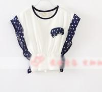 Girl Summer Standard 2014 Summer Children Girls Batwing Sleeve Cotton T-shirts Korean Kid's Cute Cartoon Corsage Tee Shirt Child Lovely Dots Printed Tops I1327