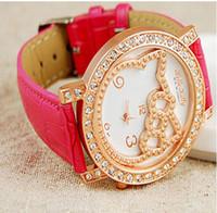 Wholesale Imitation Leather Strap Dress Shine Rhinestone Watch Hello KT Watches bowknot quartz watch analog high quality wristwatches
