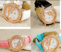 Wholesale wristwatches Promotion Fashion hello kt lovely Cartoon Watch Children women ladies Leather Band Crystal