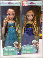 Wholesale Frozen Movie inch Princess Queen Barbie Two braid Anna Elsa Doll Toys Hot in good cloth