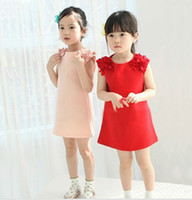 Summer baby clothing fabric - 2015 Summer Princess Dress Chiffon Shoulder Floral Petals Comfortable Strench Cotton Fabric Children s Dresses Baby Kids Clothing fit T