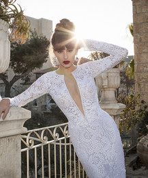 Wholesale 2014 Vintage Berta Sexy Plunging V neck Long Sleeve Cheap Bridal Gowns Sheath Lace Sweep Train Custom Made Garden Wedding Dresses DL1312200