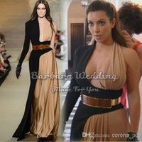 Reference Images Halter Chiffon Wholesale - Custom Made Kim Kardashian A-Line One Long Sleeves Gold Belt Designer Two Color Celebrity Dress Evening Dress Drop Shipping