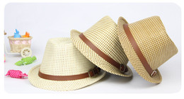 Wholesale Children caps Boy Summer Beach hat Bucket Belt Casual Trilby Knitted Straw Hat