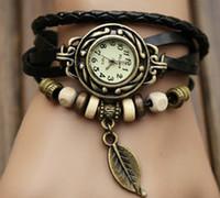 Wholesale 7 colors vintage leather strap leaf watches women dress watches quartz watches