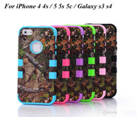 Wholesale Realtree Camo Cases Series For iphone S S C Samsung Galaxy S4 S3 Waterproof Cell Phone Case Hybrid Silicone Skin With Plastic Shell