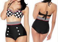 Wholesale New Retro Push up Padded High Waist Bikini Swimsuit Black With White Polka Dots Vintage Bathing Suit Pin up Straps Swimwear