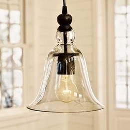 Wholesale New Antique Vintage Style Glass Shade Ceiling Light Bell Pendant Light European Retro Chandelier Glass Pendant Lamps Glass Pendant Lights