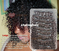 Wholesale Brazilian Human hair Deep curly clip in hair extensions g deep curly clip on hair extension pc alot