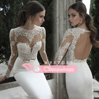 Wholesale Summer Beach Sheath Wedding Dresses with Sheer Lace and Illusion Jewel Neck Long Sleeves Floor Length Backless Beautiful Wedding Bridal Gown