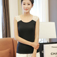 Men Cotton Polo 2014 new spring lace vest bottoming bottoming shirt ladies sexy female wild thin strap sling