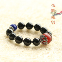 Charm Bracelets Natural crystal / semi-precious stones Tourmaline Beautiful natural black tourmaline original Brazilian onyx lapis lazuli beads bracelet for male and female national air shipping