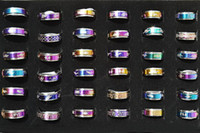 Wholesale Jewelry Mixed layer turnable Stainless steel rings Rainbow color Mixed Pattern Design With Size Lables Good for resale R396