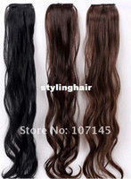 Wholesale New On Sale pc Women Black Brown Clips On In Long Curly Wave Synthetic Hair Extensions Virgin Brazilian Hair Pieces