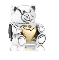 Wholesale 925 Sterling Silver CT gold Teddy Bear Beads Fit For Pandora Bracelet Big Hole Bead