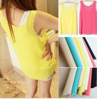 Women Polyester Round Wild candy-colored chiffon blouses sleeveless vest female petal wave edge bottoming shirt wholesale Sling