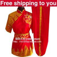 Wholesale Customize Chinese wushu uniform Kungfu clothing exercise suit performance set Dragon embroidery men children boy girl Red