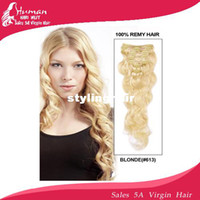 Wholesale quot quot inch Remy Clip in hair malaysia body wave Virgin Human Hair Extension g blonde