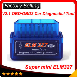 Wholesale 2016 Latest Version V2 Super mini elm327 Bluetooth OBDii OBD2 Wireless Mini elm Works on Android Torque In stock
