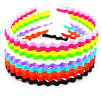 Wholesale Baby Girls Kids Adorable Hair Bands Hair Accessories Pretty jewelry candy colored wavy noodles plastic hair hoop headband hair Children