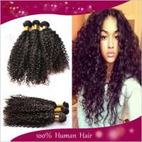 100g Brazilian Hair Natural Color Wholesale - 5A 100% human hair weaves brazilian kinky curly virgin hair extension 1b natural color black 3 4 5 pcs lot remy hair weft bundle