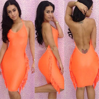 Work Sheath Mini 2014 summer sexy knee-length dress Orange Bandage Dress Celebrity backless bodycon Tassels Evening pencil dresses b9 sv002031