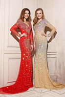 Reference Images V-Neck Chiffon Euro Type Fullly Crystal V-neck Sheer Long Sleeves Open Back Red Champagne Aqua Mermaid Prom Dress Evening Party Gowns 2014 New