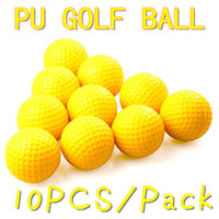 One Piece Ball golf ball - 10pcs pack Soft Indoor Practice PU Yellow Golf Balls Training Aid H8876 Drop Shipping