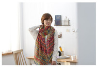 Wholesale 2015 New Fashion Multicolor National Thickening Cape Lengthen Dual use Long Women s Pastoral Voile Chiffon Silk Scarf Air Conditioning Tow