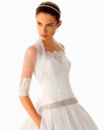 Wholesale Hot New Custom Made Half Sleeve Delicate High Neck Wedding Dress Tulle Lace Wedding Bridal Shawl Wrap Bolero Jacket