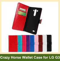 Wholesale Fashion Crazy Horse Pattern PU Leather Wallet Flip Cover Case for LG G3 D855