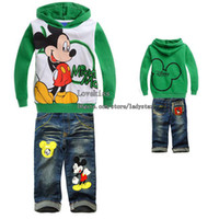 clothing children - Kids Suit Outfits Child Clothing Boys Clothes Child Suit Kids Sets Children Outfit Boy Suit Fashion Hoody Hoodie Blue Jeans Children Set