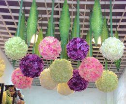 NEW ARRIVALS Diameter 25cm Silk Simulation Artificial Flowers Hydrangea Ball flower for Wedding Party Kissing Ball Flower
