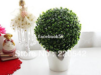 Wedding artificial topiary outdoor - 2013 Artificial Plant Topiary Ball Tree Plant Home Outdoor Wedding Event Decoration cm SHC