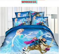 Girls' Four-piece Cribs Bedding 3D Frozen Bedding cartoon kids bedding sets Princess Elsa & Anna Olaf Frozen duvet quilt cover Queen 4pcs Sister Love Linen cotton bed set