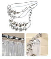 Wholesale Rolling Shower Curtain Hooks Rings Roller Pearls Easy Sliding Mute Durables Shower Curtain Pulley Chrome Mirror Finished set