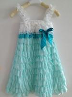 TuTu dress factory - 2015 China Factory Dress Posh White Aqua Petti Lace Romper Dress Western Girls Dress Rustic lace Girls Dress with straps