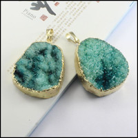 Wholesale 2pcs k Gold plated Edge green Nature Druzy Drusy stone beads gemstone pendant Beads for Bracelet Necklaces Jewelry findings