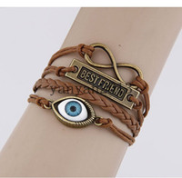 Link, Chain best creativity - best friend Turkey eyes creativity retro characters eyebrows concise brand Multilayer Hot Selling Charm Leather Bracelets