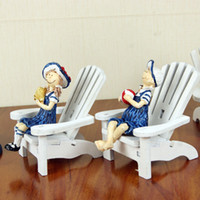 Chinese fir Manual Be K2413 men Mediterranean style wooden chair doll mini beach chair ornaments home decor