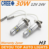 Wholesale New arriver Xenon White W CREE H3 LED Fog Light Bulb V V car driving drl Lamp